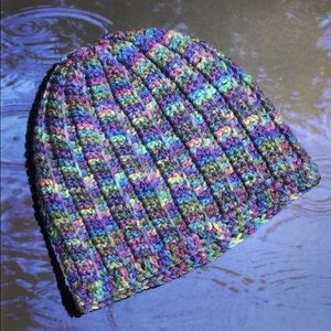 Winter beanie hat purple blue green